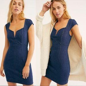 Free People Lia Denim Bodycon Blue Jean Mini Dress